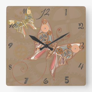 Vintage Steampunk Style Butterfly Wall Clock