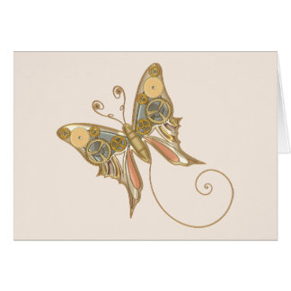 Vintage Steampunk Style Mechanical Butterfly Card
