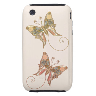 Vintage Steampunk Style Mechanical Butterfly Tough iPhone 3 Cases