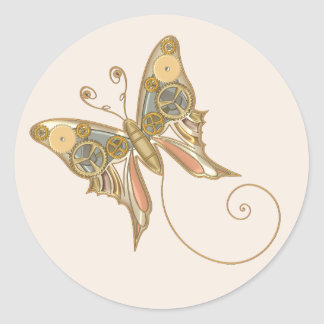 Vintage Steampunk Style Mechanical Butterfly Classic Round Sticker