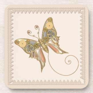 Vintage Steampunk Style Mechanical Butterfly Coasters