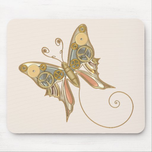 Vintage Steampunk Style Mechanical Butterfly Mouse Pad