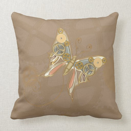 Vintage Steampunk Style Mechanical Butterfly Pillows