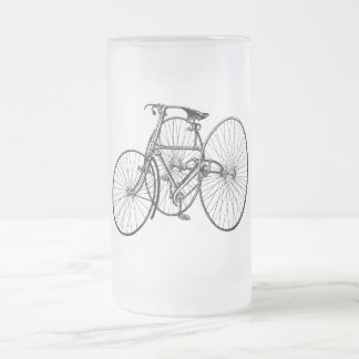 Vintage Steampunk Tricycle Frosted Glass Beer Mug