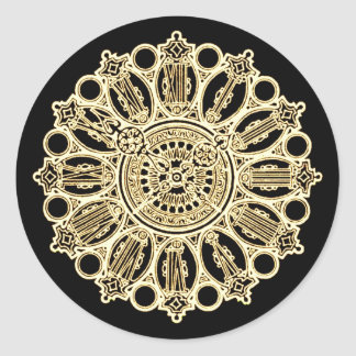 Vintage Steampunk Victorian Fancy Clock face Classic Round Sticker