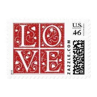 Vintage Stencil Love Letters Postage Stamp