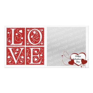 Vintage Stencil Valentine Love Letters Custom Photo Card