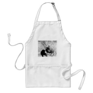 Vintage Stereoview - Baby in Sled Adult Apron