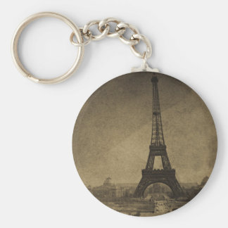 Vintage Stereoview de la torre Eiffel Llavero Redondo Tipo Pin