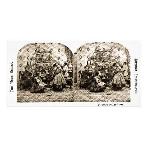 Vintage Stereoview - Nochebuena por el árbol Tarjeta Fotografica Personalizada