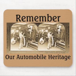 Vintage Stereoview - nuestra herencia del automóvi Alfombrilla De Raton