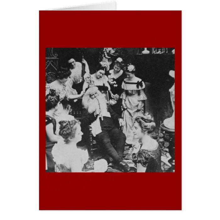 Vintage Stereoview Santa and the Ladies Christmas Card