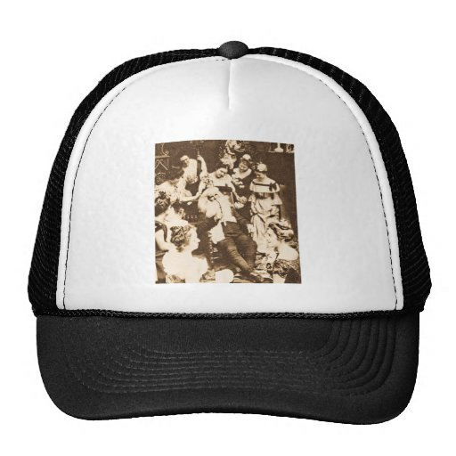 Vintage Stereoview - Santa and the Ladies Mesh Hats