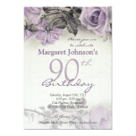 Vintage Sterling Silver Purple Rose 90th Birthday 5x7 Paper Invitation Card