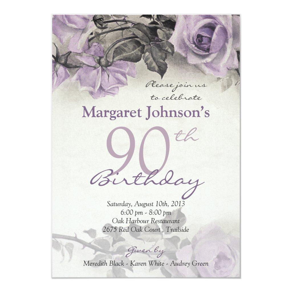 90th Birthday Invites