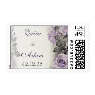 Vintage Sterling Silver Purple Rose Wedding Postage