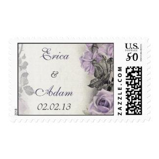 Vintage Sterling Silver Purple Rose Wedding Postage