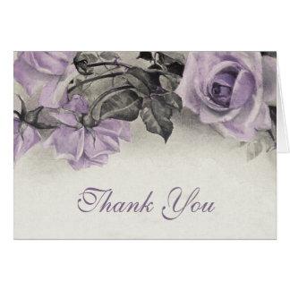 Vintage Sterling Silver Rose Wedding Thank You Card