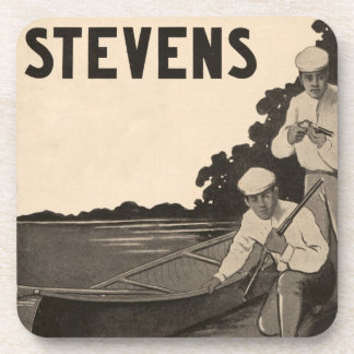 Vintage Stevens Firearms Canoe Cork Drink Coaster