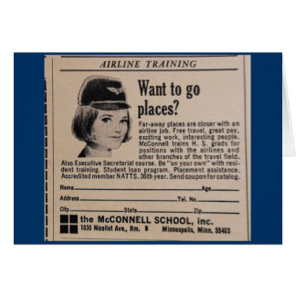 Vintage Stewardess Advertisement Card