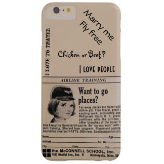 Vintage Stewardess Airline Flight Attendant Barely There iPhone 6 Plus Case