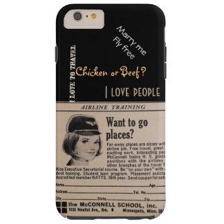 Vintage Stewardess Airline Flight Attendant Tough iPhone 6 Plus Case