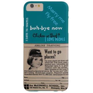 Vintage Stewardess Airline Flight Attendant turquo Barely There iPhone 6 Plus Case
