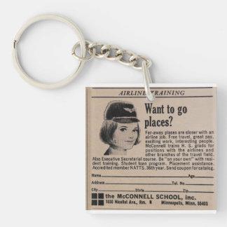 Vintage Stewardess Flight Attendant Keychain