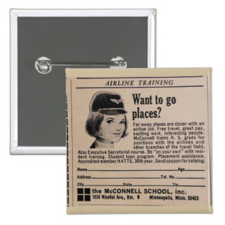 Vintage Stewardess Flight Attendant Pinback Button