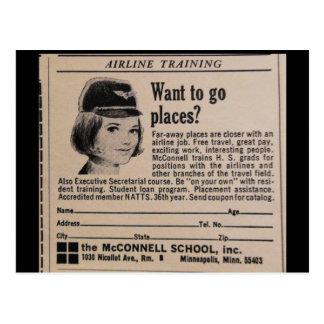 Vintage Stewardess Flight Attendant Postcard