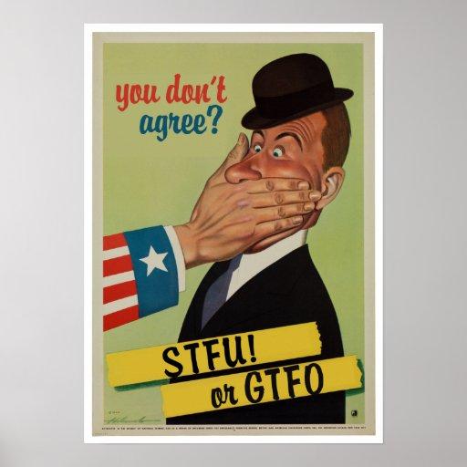 Vintage STFU o GTFO Poster