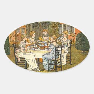 Vintage Sticker Afternoon Garden Tea Party Sticker