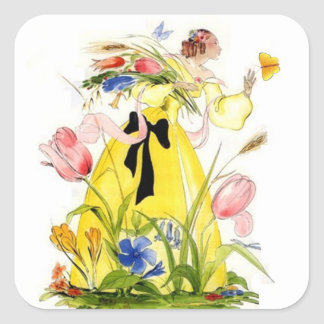 Vintage Sticker Garden Lady Reaching For Butterfly