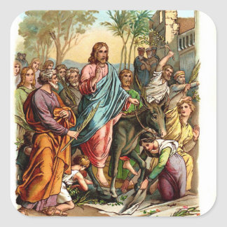 Vintage Sticker-Jesus Enters Jerusalem Square Sticker