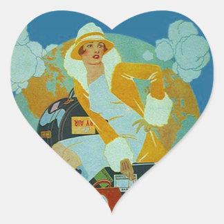 Vintage Sticker Love Heart To Travel Luggage Trip