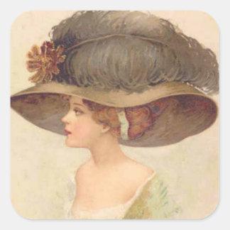 Vintage Sticker Victorian Lady in Hat