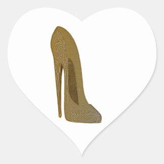 Vintage Stiletto High Heel Shoe Art Gifts Heart Sticker
