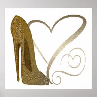Vintage Stiletto Shoe Hearts Art Poster