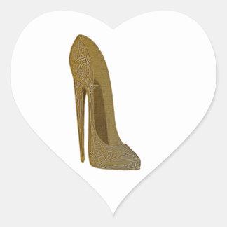 Vintage Stiletto Shoe High Heel Art Gifts Heart Sticker