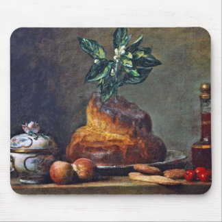 Vintage Still Life with Brioche by Chardin Mousepad