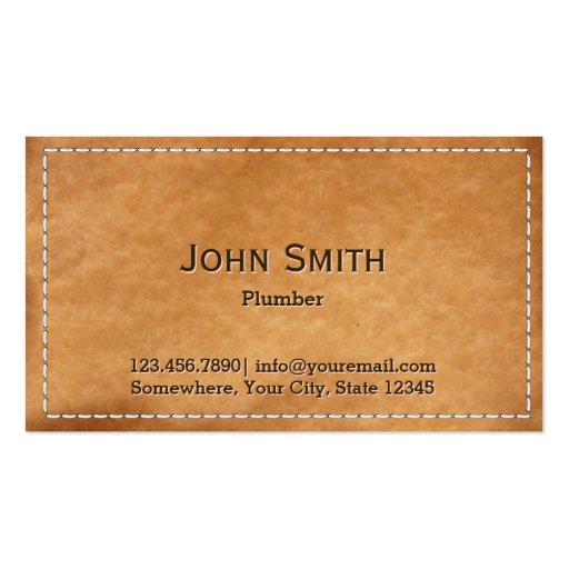 Vintage Stitched Leather Plumbing Business Card Template