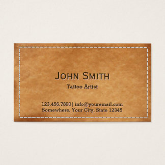 Vintage Stitched Leather Tattoo Art Business Card