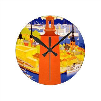 Vintage Stockholm Sweden Round Wall Clock