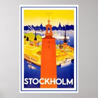 Vintage Stockholm Sweden Poster