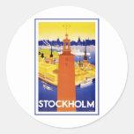 Vintage Stockholm Sweden Round Sticker