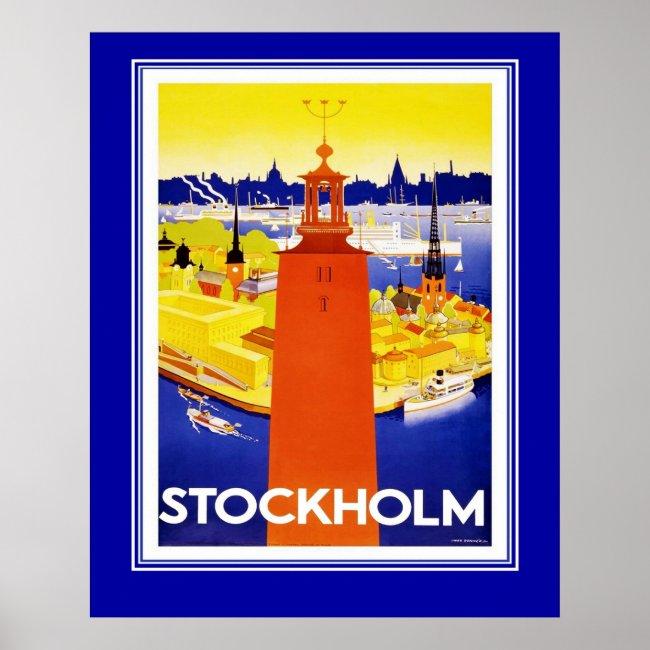 Vintage Stockholm Travel Poster Large Size