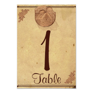 "Vintage Stone Barn Posh Wedding Table Number 3.5"" X 5"" Invitation Card"