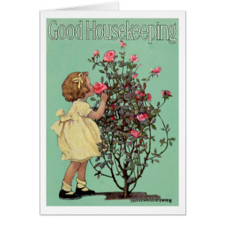 """VINTAGE """"STOP & SMELL THE ROSES"""" EASTER GIRL CARD"""