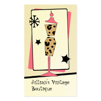 Vintage Store / Boutique - Leopard Pink Dress Form Double-Sided Standard Business Cards (Pack Of 100)