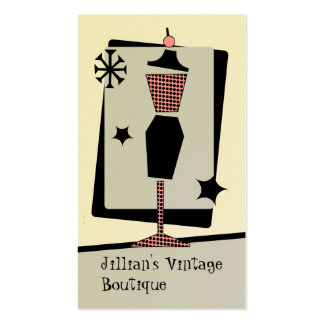 Vintage Store / Boutique - Pink & Black Dress Form Double-Sided Standard Business Cards (Pack Of 100)
